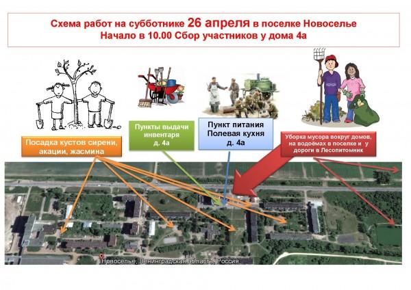 схема субботника в Новоселье